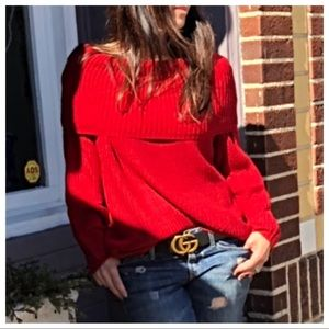 Sweaters - Red on or off the shoulder cowl neck knit sweater
